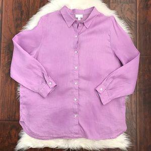 J. Jill Missy Love Linen Purple Button Down Top